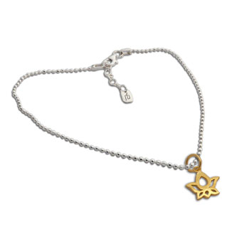 Gold plated  Lotus on Anklet Sterling Silver 9 to 10 inches adjustable