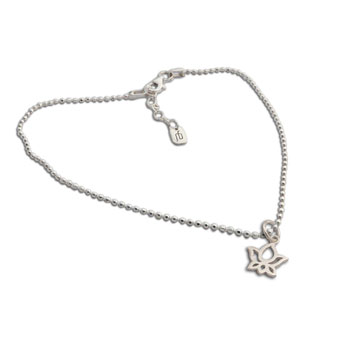 Lotus Anklet Sterling Silver 9 to 10 inches adjustable