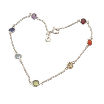 Well-being Chakra Anklet Silver and Gemstones