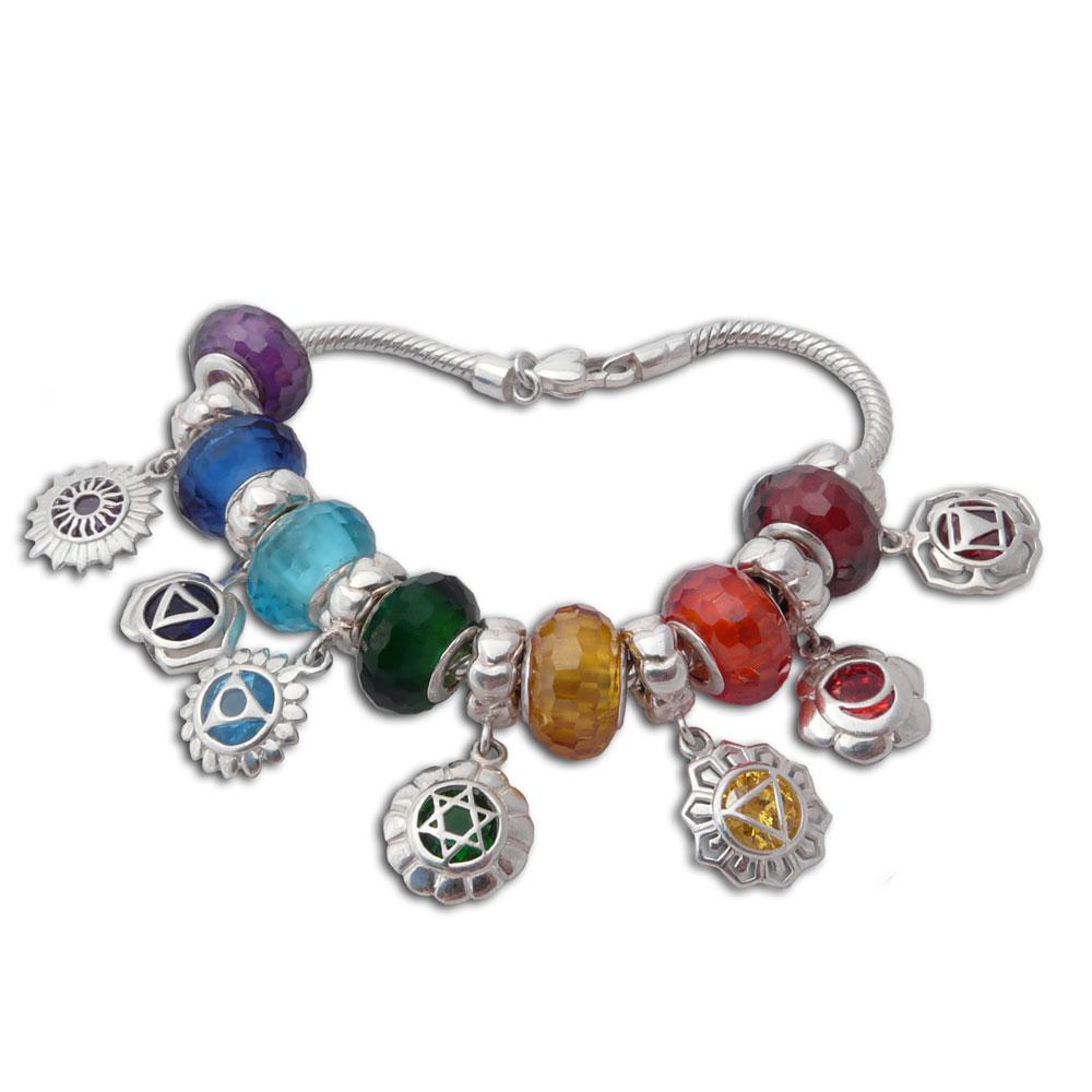 good vibes chakra charm bead bracelet sterling silver