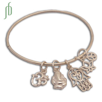 Lucky Charm Bracelet Opening Bangle Sterling Silver