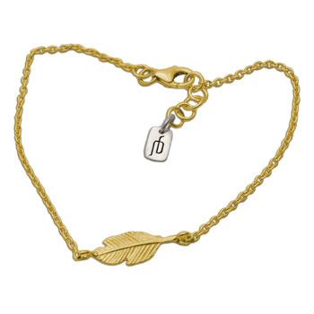 Feather Bracelet Gold-tone
