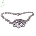 Om Lotus Bracelet Sterling Silver Adjustable
