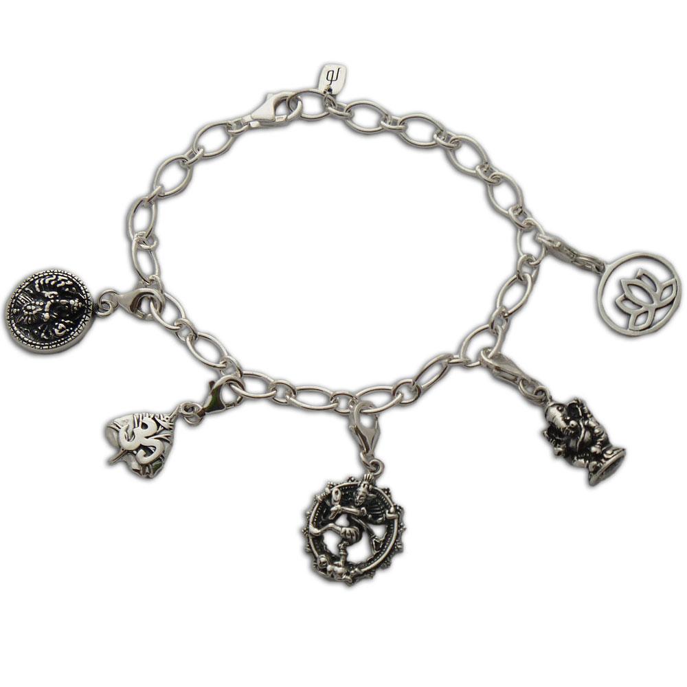 hindu bliss karma charms bracelet sterling silver