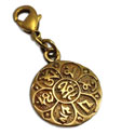 Charmas Om Mani Padme Hum Charm with Spring Clasp Recycled Brass Gold tone