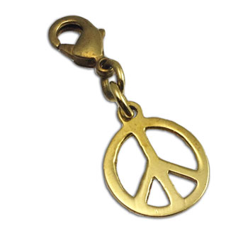 Peace Charm Pendant Recycled Brass