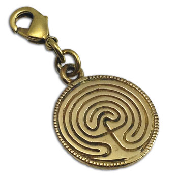 Charmas Labyrinth Charm with Spring Clasp Recycled Brass