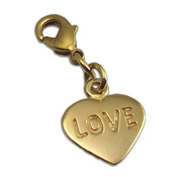 Love Heart Charm with Spring Clasp Recycled Brass