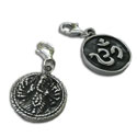 Double sided Om and Ganesh Charm with Spring Clasp Silver