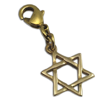 Star of David Charm with Spring Clasp Gold tone Recycled Brass