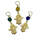 Hamsa Earrings Recycled Glass and Brass Yellow Green or Blue
