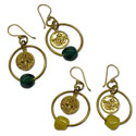 Om Ganesh Earrings Recycled Glass and Brass Ice Green or Yellow