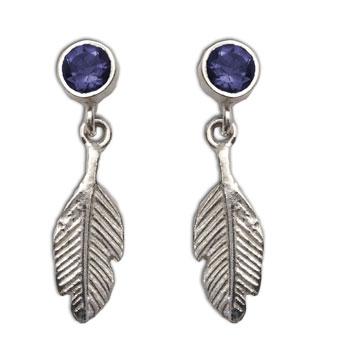 Feather Earrings Iolite Studs Silver Intuition