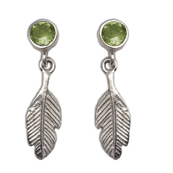 Feather Earrings Peridot Studs Silver Compassion