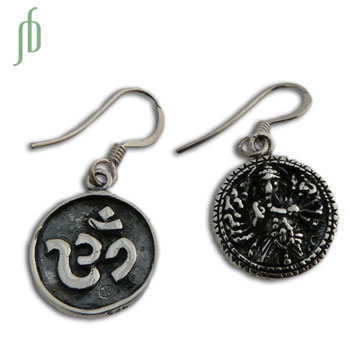 Double-sided Om and Ganesh Earrings