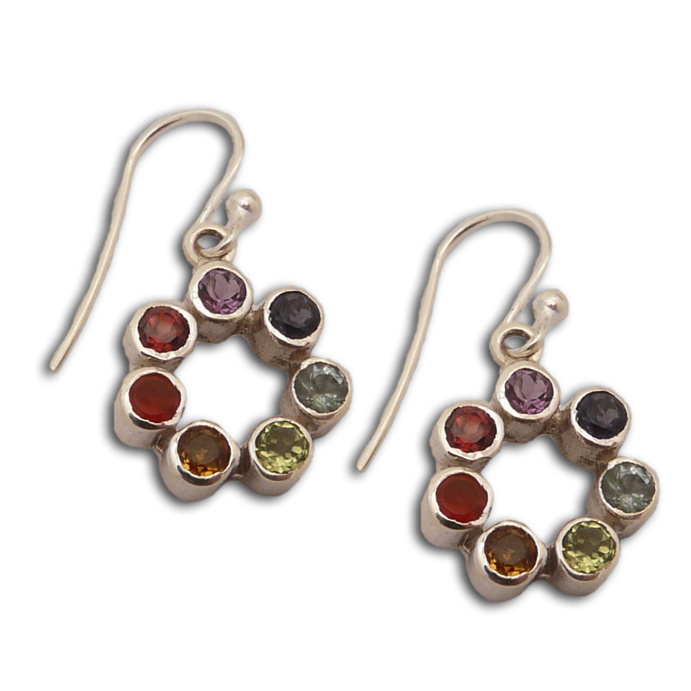Chakra Earrings Circle Of Happiness Sterling Silver And