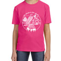 Feathered Pipe T-shirt Short Sleeve KIDS Retro Hot Pink