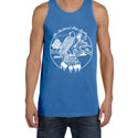 Feathered Pipe Tank Top Men's Retro Western Blue