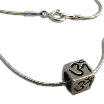 Om Cube Necklace Silver