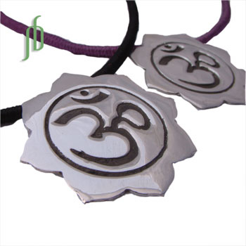 Om Lotus Necklace with Cotton Cord