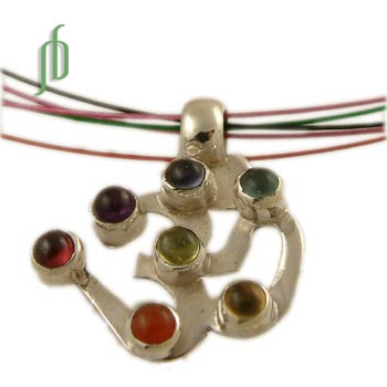 7 Chakra Om Necklace silver and gemstones with multi color chain
