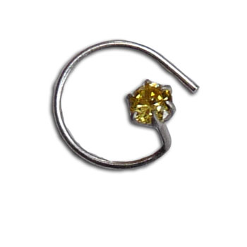 Silver Nose Stud Citrine