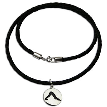 Yoga Dog Pose Necklace Sterling Silver and Leather Style 20 inches