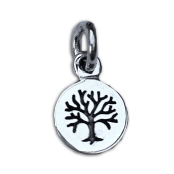 Tree of Life Charm Pendant Silver 7 mm