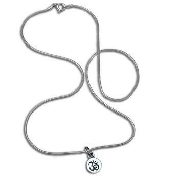 Om Symbol Necklace Silver 16 inches