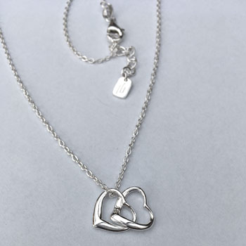 Double Hearts Necklace Silver 40-42 cm