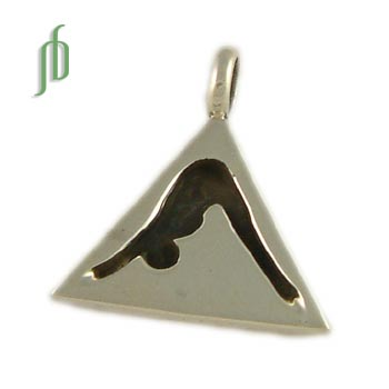Dog Pose Pendant Triangle Tag Sterling Silver Yoga