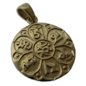 Om Mani Padme Hum Pendant Recycled Brass