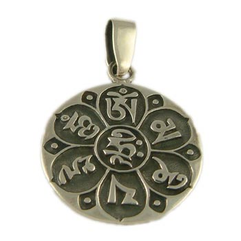 Om Mani Padme Hum Pendant Sterling Silver