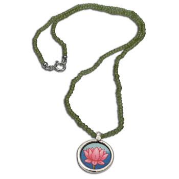 Lotus Painting Peridot Necklace