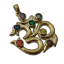 7 Chakra Om Pendant Recycled Brass