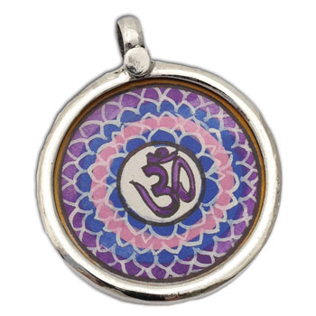 Crown Chakra Painting Pendant Silver