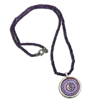 Crown Chakra Painting Necklace Amethyst