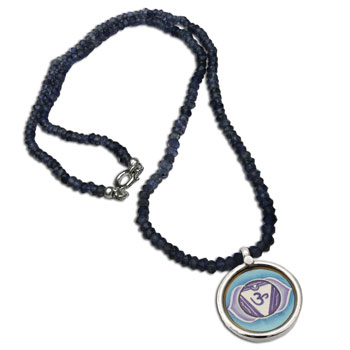 Forehead Chakra Painting Iolite Necklace