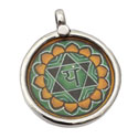 Heart Chakra Painting Pendant Silver